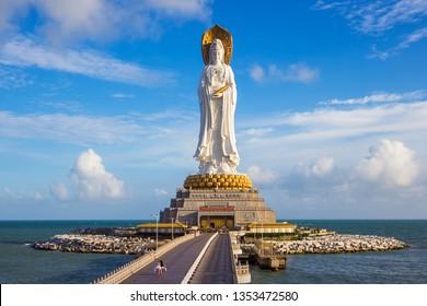 Sanya, Hainan/China - 09.18.2018: Statue of Guanyin on the territory of Buddhist center Nanshan