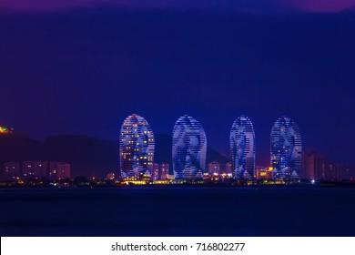 Sanya Phoenix Island President Resort Apartment at night, Hainan Sheng, Sanya Shi, Tianya Qu, China.