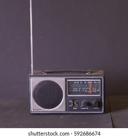 A Sanyo RP2800 transistor radio dating from the 1979's now part of a private collection in west Wales, UK in March 2017.