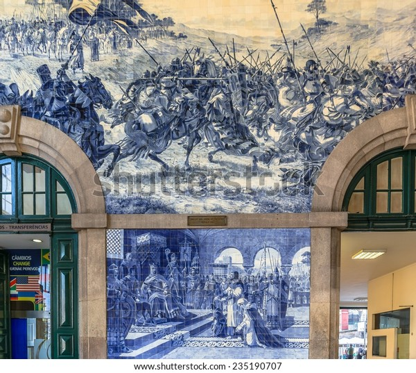 Sao Bento station with tiles representing Portugal history.