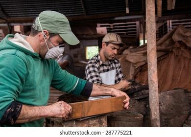 SAO BRAS DE ALPORTEL, PORTUGAL - Circa April, 2015: View of a bed of traditional mud brick production factory.