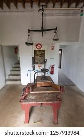 SAO BRAS - PORTUGAL, AUGUST 5: Tea production equipment at the Gorreana tea factory near Sao Bras, Portugal on August 5, 2017.