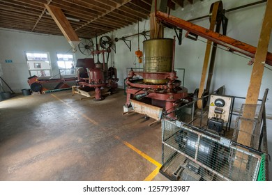 SAO BRAS - PORTUGAL, AUGUST 5: One of the tea production rooms at the Gorreana tea factory near Sao Bras, Portugal on August 5, 2017.