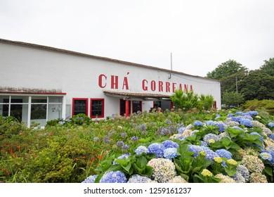 SAO BRAS - PORTUGAL, AUGUST 5: The Cha Gorreana tea production building near Sao Bras, Portugal on August 5, 2017.