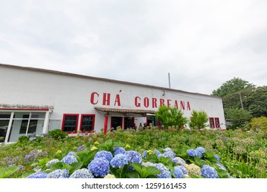 SAO BRAS - PORTUGAL, AUGUST 5: The Cha Gorreana building near Sao Bras, Portugal on August 5, 2017.