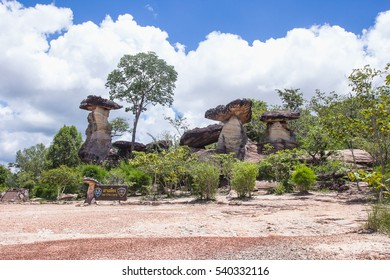 Sao Chaliang, Mushroom-like rocks that have been eroded by water and wind in Ubon Ratchathani, Thailand.