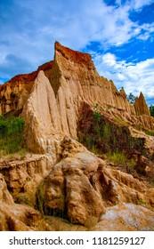 Sao Din Na Noi or Hom Chom and Khok Suea, dry land and soil texture, canyon in Si Nan National Park, Nan Thailand