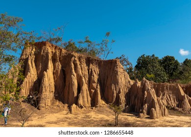 Sao Din Na Noi (Hom Chom), fascinating and picturesque landscape of eroded sandstone pillars, columns and cliffs. Sri Nan national park, Nan province, Thailand.