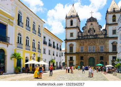 Sao Francisco church in Pelourinho, in the historical center of Salvador Bahia. Brazil. Sao Francisco church is one of the most recognizable buildings of Bahia Region. 02/11/2019