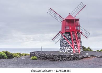 Sao Joao windmill. Pico island, Azores, Portugal