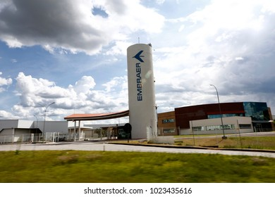 Sao Jose dos Campos, SP, Brazil - February 11, 2018 - Outdoor view of the Embraer plant, Brazilian aviation industry, in Sao Jose dos Campos