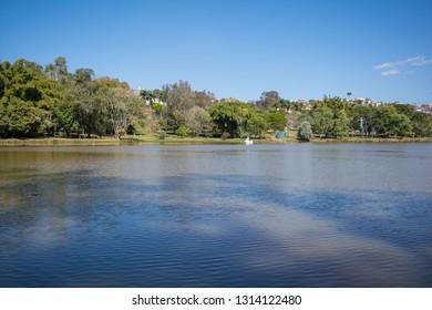 Sao Lourenco / Minas Gerais / Brazil - July 23, 2017: Pedal boat on the lake of the Water Park, in Sao Lourenco, Minas Gerais interior