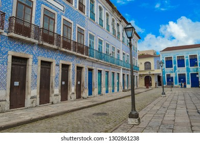 Sao Luis, Maranhao, Brazil - january 17, 2019: Portugal Street at noon, no pedestrians due to the strong sunshine