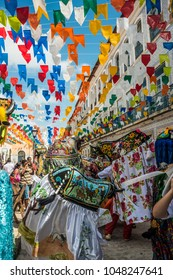 Sao Luis, Maranhao State, Brazil - July 8, 2016: Historic town is preparing for the traditional holiday of bulls