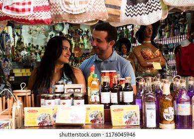 Sao Luis/Maranhao/Brazil - 09 08 2018: Couple inside the craft fair in Sao Luis Maranhao