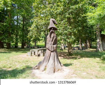 SAO MIGUEL - AUGUST 19, 2018: 'Gandalf from Furnas' wooden sculpture near Lagao das Furnas in Sao Miguel, Azores Islands, Portugal.