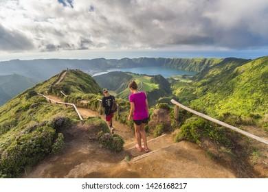 [Sao Miguel, Azores - Aug 20 2018] Azores archipelago, Sao Miguel island, Sete Cidades, Boca do Inferno viewpoint, view over Lagoa Santiago and Lagoa Azul crater lakes