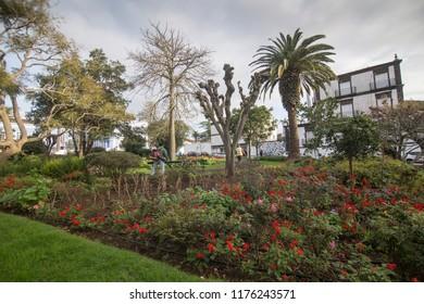 SAO MIGUEL AZORES PORTUGAL: Cityscape in Ponta Delgada Sao Miguel island Azores archipielago Portugal on January 9, 2018. Conceicao palace park.