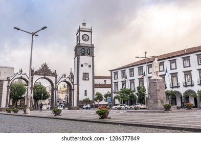 SAO MIGUEL, AZORES, PORTUGAL - OCTOBER 14, 2018: Saint Sabastian church with clock tower in Ponta Delgada on Sao Miguel Island in Azores, Portugal.