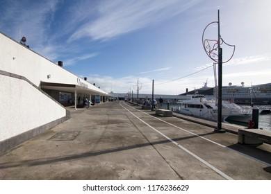 SAO MIGUEL AZORES PORTUGAL:Beach club in Ponta Delgada Sao Miguel island Azores archipielago Portugal on January 9, 2018