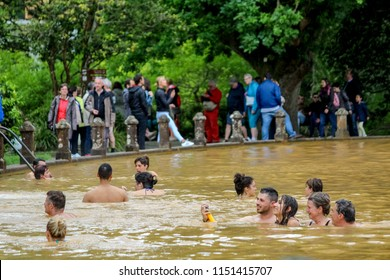 Sao Miguel, Portugal 05/06/2017: Lots of people swimming in the Hot thermal springs. All natural from the active volcanic activity on the islands of Azores, Portugal