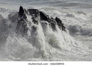 Sao Paio small cape after severely hit by stormy waves. Northern portuguese coast during winter.