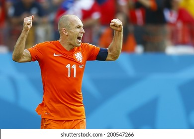 SAO PAOLO, BRAZIL - JUNE 23, 2014: Arjen Robben of the Netherlands celebrates during the World Cup Group B game between the Netherlands and Chile at the Arena Corinthians. NO USE IN BRAZIL.