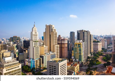 Sao Paulo Aerial Skyline - Brazil