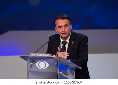 Sao PauloAugust 09, 2018Jair Bolsonaro takes part in the first debate of the 2018 elections for President of Brazil, at the headquarters of Band TV.