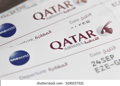 Sao Paulo, Brasil - September 29, 2017: Qatar Airways boarding pass from Buenos Aires to Sao Paulo