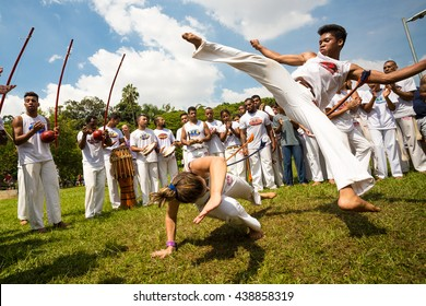 Sao Paulo, Brazil, 03 April 2016. Group of Brazilian capoeiristas performing at the Ibirapuera Park in Sao Paulo, Brazil.