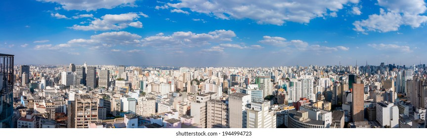 Sao Paulo - Sao Paulo - Brazil - 08 06 2015: panoramic view of downtown. Metropolis cityline from above during a sunny day.