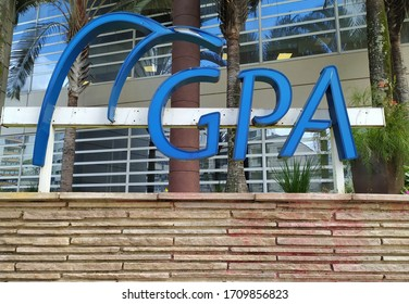 Sao Paulo, Brazil - 11th April 2020: Logo of GPA, which stands for Grupo Pão de Açúcar, in front of the holding's corporate office.
