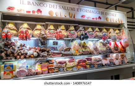 SAO PAULO , BRAZIL 13 JULY 2018 ; EATALY meat shop . The largest Italian gastronomic center in Sao Paulo, Brazil.A place where you can eat, shop and learn.