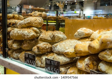 SAO PAULO , BRAZIL 13 JULY 2018 ; EATALY bakery. The largest Italian gastronomic center in Sao Paulo, Brazil.A place where you can eat, shop and learn.