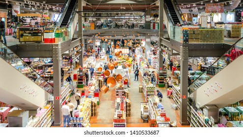 SAO PAULO , BRAZIL 13 JULY 2018 ; EATALY , the largest Italian gastronomic center in Sao Paulo, Brazil.A place where you can eat, shop and learn.