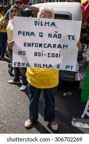 Sao Paulo, Brazil - 16 August 2015 - people on Paulista Avenue protesting against corruption and presidente Dilma Rousseff's government. Most of them asking her to resign or demanding her impeachment.