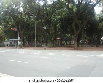 Sao Paulo, Brazil - 1st March 2020: Ipiranga avenue bordering a small portion of Republica square, Sao Paulo downtown, Brazil.