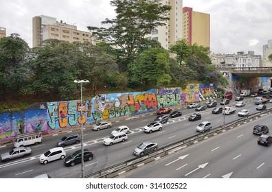 SAO PAULO, BRAZIL -23 JULY 2015- Creative graffiti street art murals line the streets and back alleys of Sao Paulo, especially in the Pinheiros, Jardim Paulista and Vila Madalena neighborhoods.