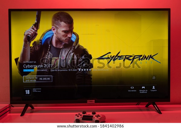 Sao Paulo, Brazil - 26/10/2020: Cyberpunk 2077 purchase screen on PSN. Cyberpunk is one of the most anticipated games of all time. (text: full game - release date - pre sale R$ 249,99)