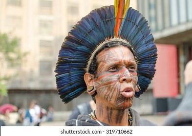 Sao Paulo, Brazil, 7 September,2015: Tupinamba Indians in Ritual act in Support of Indigenous Peoples at the Paulista Avenue.