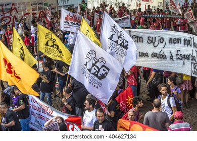 Sao Paulo, Brazil, April 01, 2016. Social movements protest at Paulista Avenue in Sao Paulo.They are against the political parties that are part of corruption