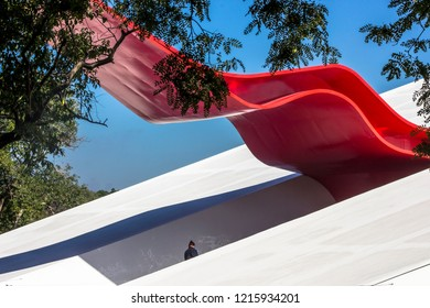 Sao Paulo, Brazil, April 16, 2013. detail of facade of the Ibirapuera Auditorium, inaugurated in 2005 and designed by the architect Oscar Niemeyer, in Ibirapuera Park, in Sao Paulo