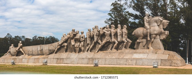 SAO PAULO / BRAZIL - April 16th, 2020 - Panoramic photo of the famous sculpture Monumento as Bandeiras by Victor Brecheret, located in front of Ibirapuera Park.