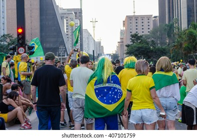 SAO PAULO, BRAZIL - APRIL 17, 2016: Pro-Impeachment Demonstration at Paulista Avenue.