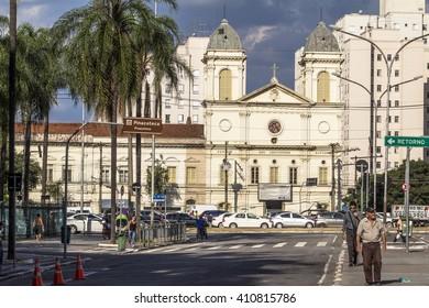 Sao Paulo, Brazil, April 19, 2016. Facade of Church of Sao Cristovao on Tiradentes Avenue, downtown Sao Paulo