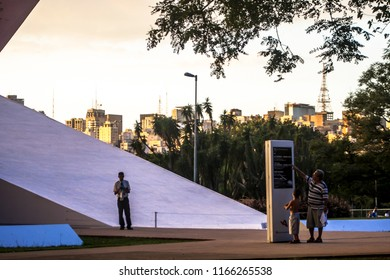Sao Paulo, Brazil. April 22, 2011: Sundown view of facade of the Ibirapuera Auditorium is a building conceived by Oscar Niemeyer, Situated in Ibirapuera Park in Sao Paulo