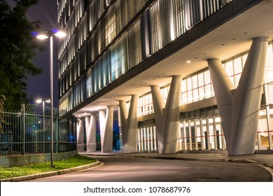 Sao Paulo, Brazil, April 24, 2018. Night view of facade of MAC, Museum of Contemporary Art, installed in the old building of DETRAN since January 2012 in Sao Paulo city