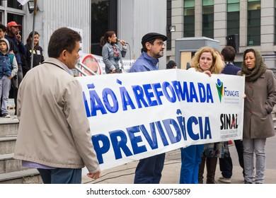 Sao Paulo, Brazil - April, 28 2017. Nationwide strike in Brazil. Paulista Avenue occupied by protesters.