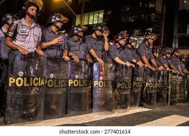 Sao Paulo, Brazil, August 01, 2013.  Police monitors the popular protest on Paulista Avenue, in Sao Paulo city, Brazil
